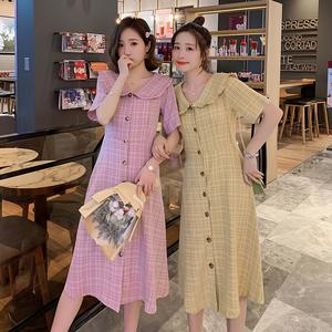亚博娱乐平台入口哺乳连衣裙2019夏季复古高腰长裙法式气质哺乳衣连衣裙中长
