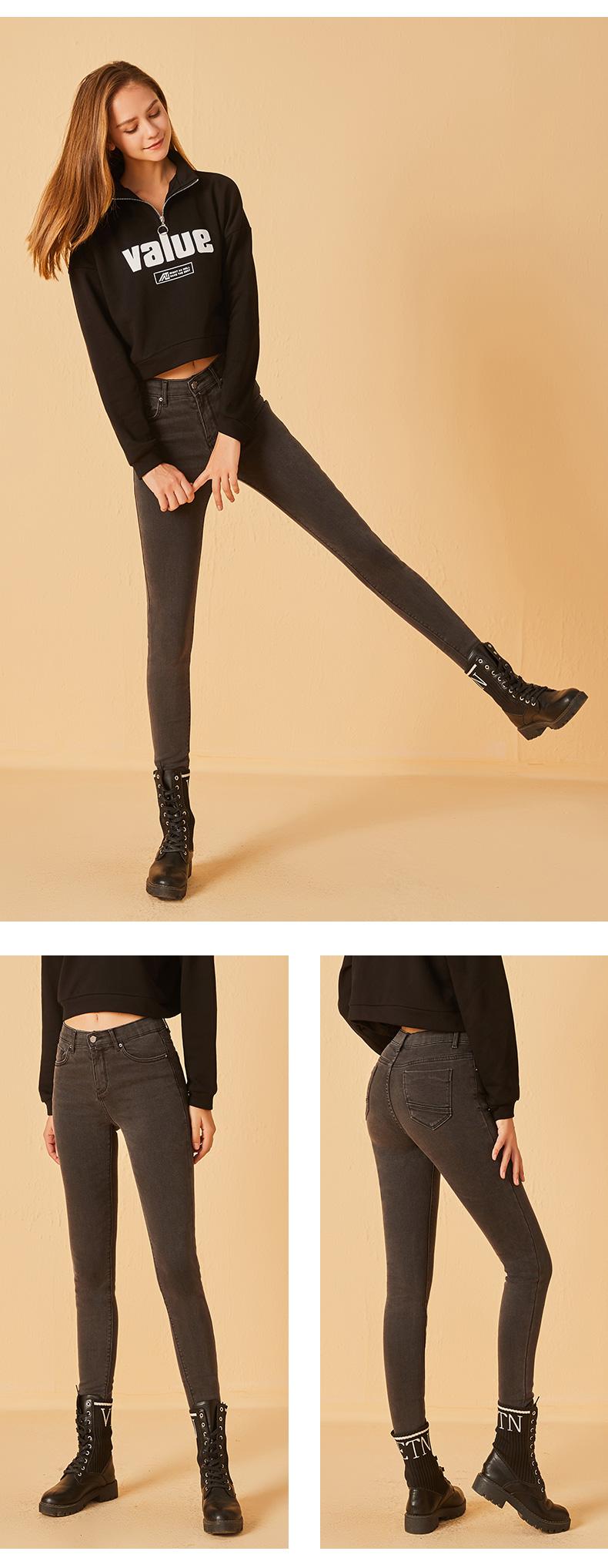 烟灰色牛仔裤子女破洞年新款紧身显瘦弹力修身加绒烟管裤详细照片