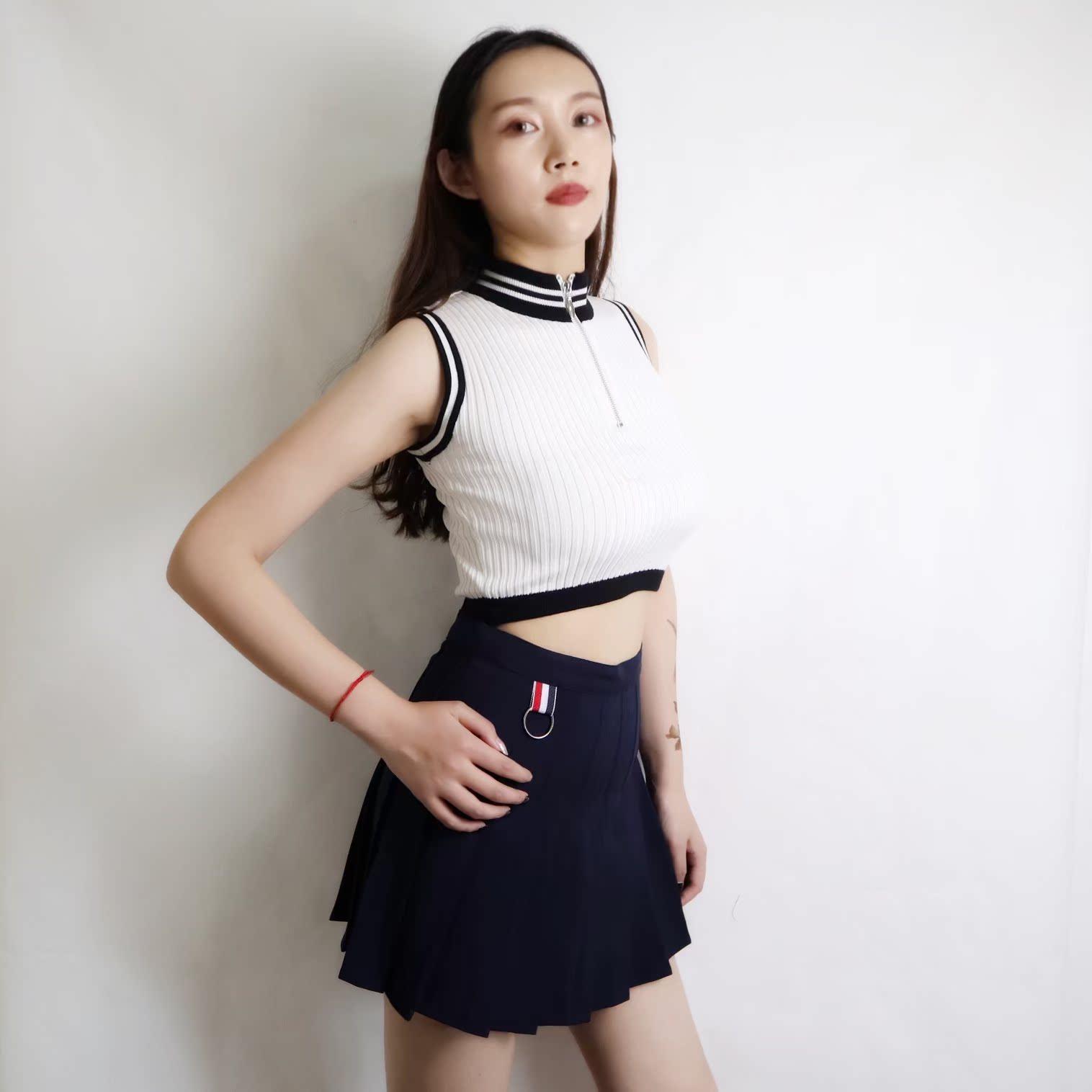 版型超好美式复古百褶裙短裙灰色女防走光秋季a字高腰半身西装裙