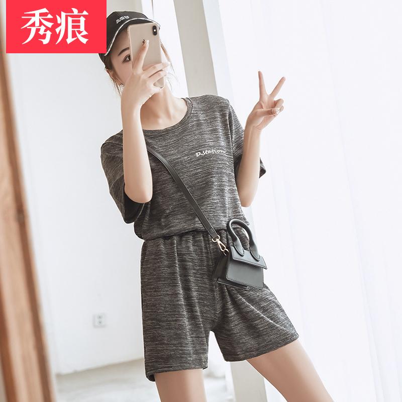 仙女宅宅闺蜜套装2019春夏居家裤套装女夏薄款外穿休闲裤两件套