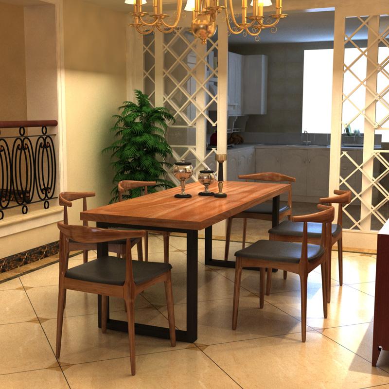 LOFT американский дерево железо обеденный стол стул сочетание простой случайный кофе западный магазин обеденный стол ретро западный обеденный стол