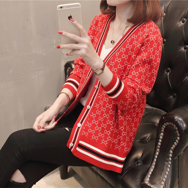 2019韩版新款春季女装针织开衫宽松短款长袖百搭毛衣外套洋气上衣