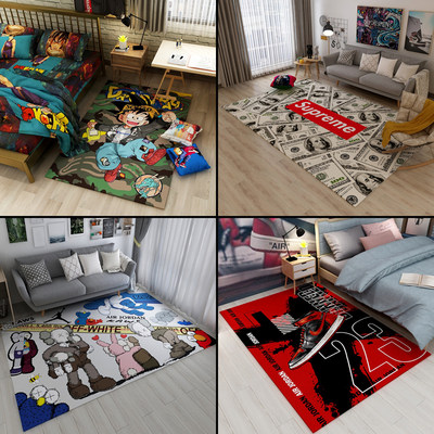 Trendy living room kaws carpet bedroom bedside blanket personality black coffee table mat cloakroom tide brand floor mats can be customized