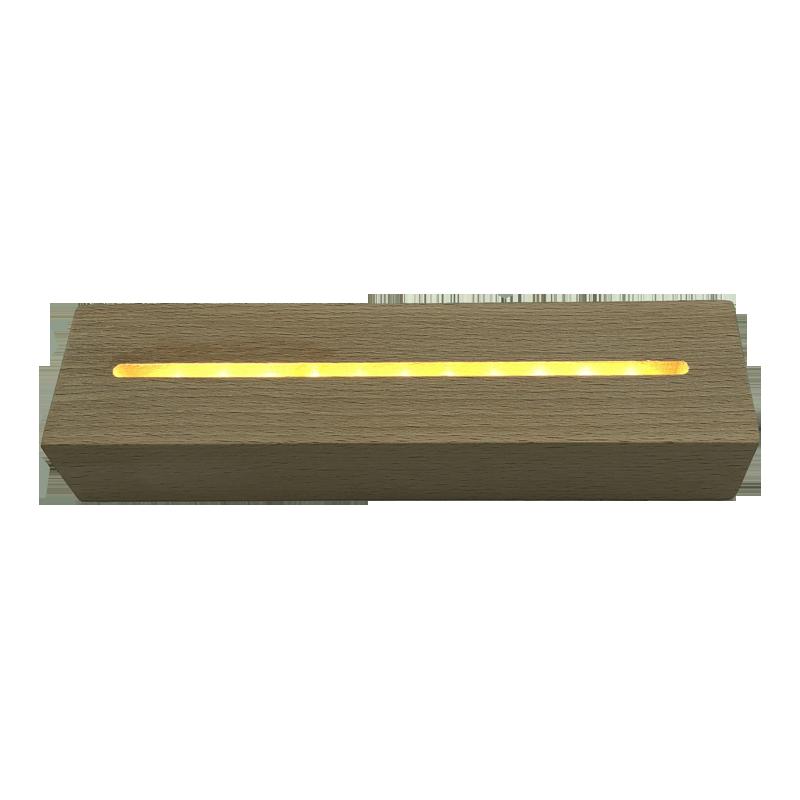 3D小夜灯底座底座LED新款创意小台灯长方形亚克力榉木定制工艺品