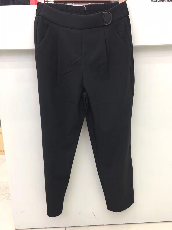 慧梦H865黑色2019夏季后松紧腰前D字百搭显瘦薄款正品八分休闲裤
