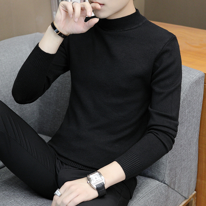 秋冬季半打底男士毛衣针织衫韩版潮流高领中领线衣青年修身黑色衫