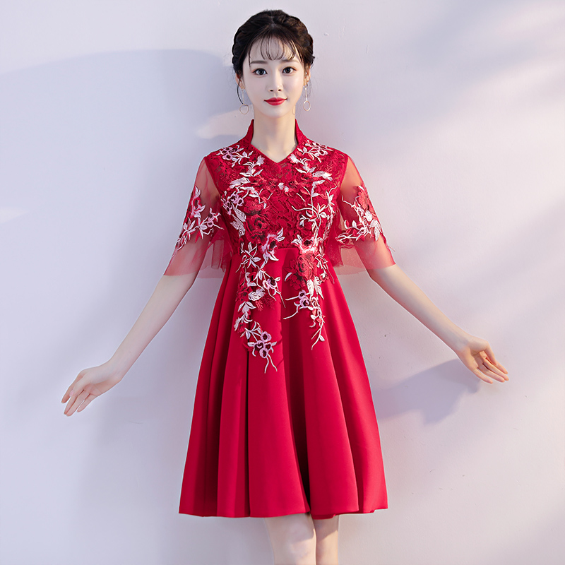 732856eec Pregnant women toast bride wedding 2019 new red high waist short show thin  belly big size fat mm dress woman
