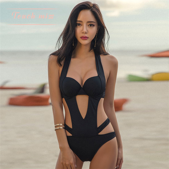 e4fd022779909 TOUCH MISS Japanese sexy hollow ladies hot spring swimwear small chest  gather slim slim one-piece swimsuit