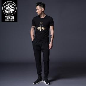2018夏季纯棉刺绣印花男士t恤