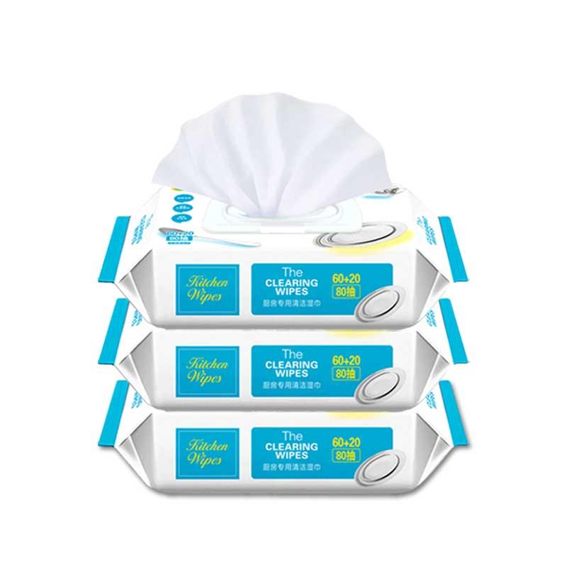厨房湿巾清洁去油污油烟机厨房用湿巾纸一次性家庭装5包400片