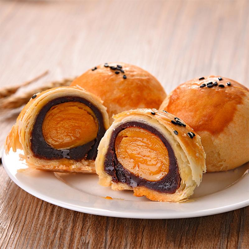 一品粤咸蛋黄酥饼海鸭蛋黄广式传统手工糕点豆沙莲蓉紫薯新鲜送礼