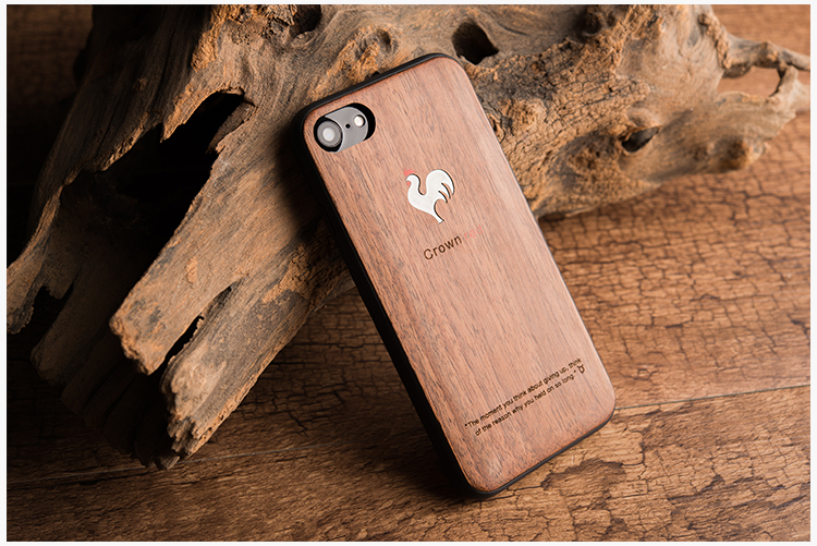 Kssdun Crown Red Luxury Walnut Wood + TPU Back Cover Case for Apple iPhone 7 Plus/7