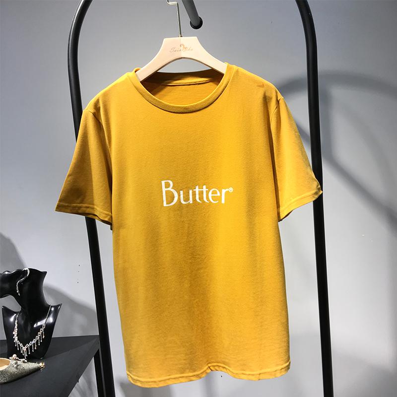 V19春季字母印花短款新品宽松T恤均码6655JST