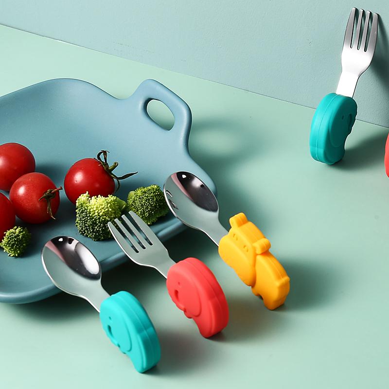 宝宝学吃饭勺子短柄儿童不锈钢把餐具小宝宝婴儿辅食碗训练叉勺
