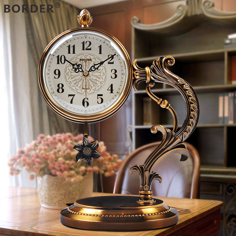 European Watch Ornaments Grandfather Clock Living Room Queen Size Bench Vintage  Table Clock Clock American Mute