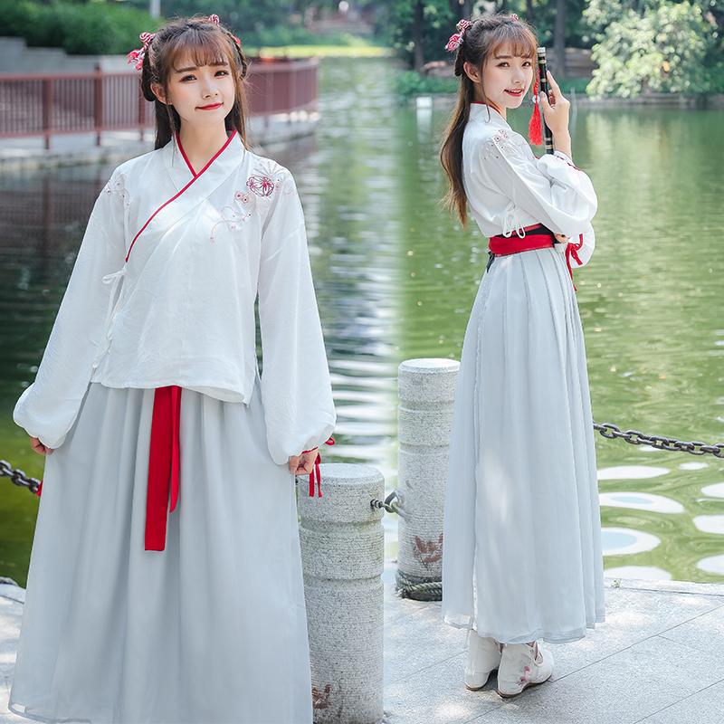 汉服女古装仙女复古改良中国风夏装学生公主飘逸a古装淡雅齐腰襦裙