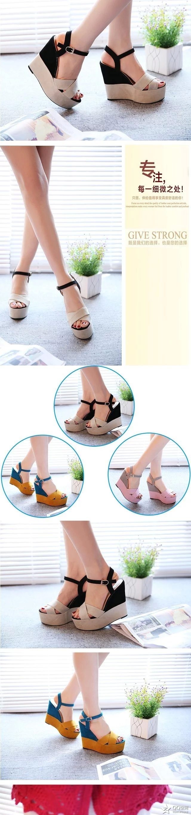 2019 summer new slope with fish mouth sandals female high-heeled belt buckle shallow mouth women's shoes with a fashion shoes 18