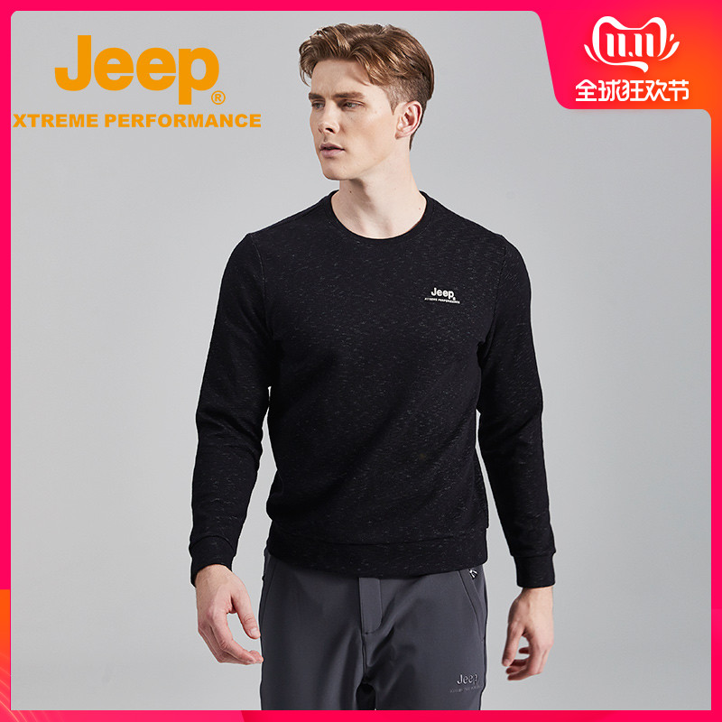 jeep flagship store official authentic Jeep men's outdoor crew neck pullover large size men's Tide brand long sleeve T-shirt