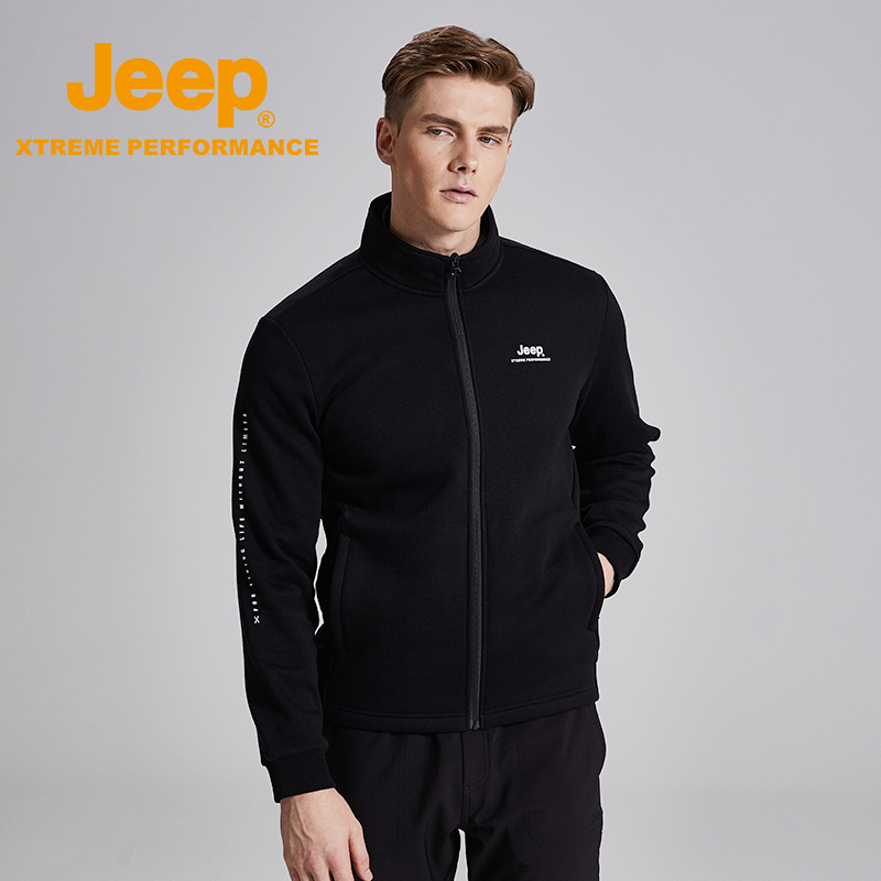 jeep ship shop official genuine Jeep stand collar men's zipper autumn and winter knitted cardigan jacket casual fleece sweater
