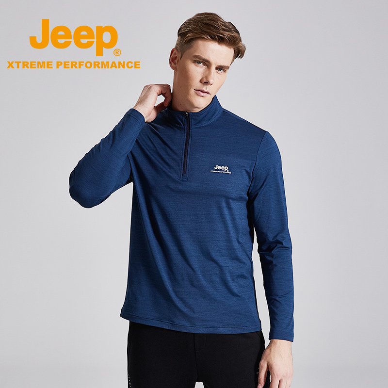 Jeep jeep autumn dress new men's long-sleeved semi-zip men's round collar collar sweater thin top gray.
