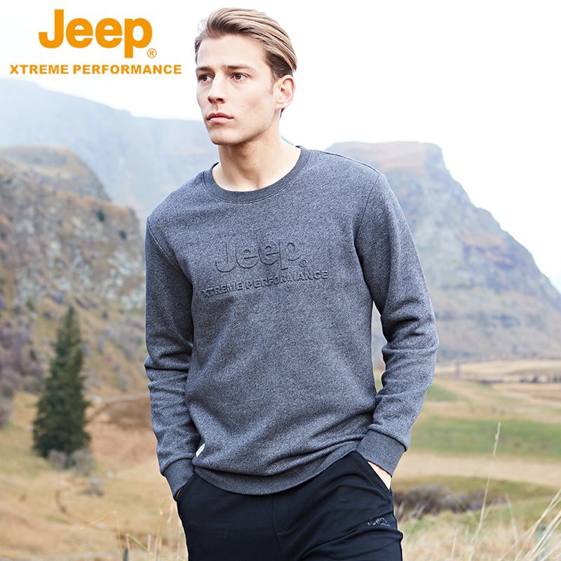 JEEP Jeep men's spring and autumn new coat round neck sweater autumn and winter trend pullover casual long sleeve pullover Gray