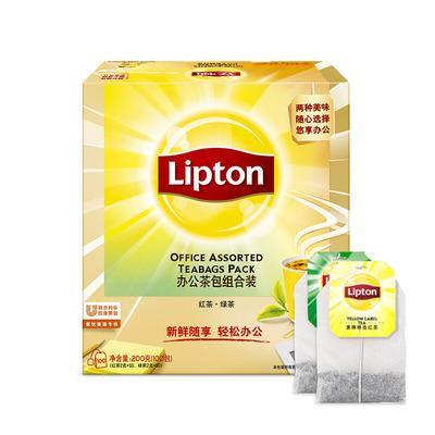 立顿lipton正品 斯里兰卡经典红绿茶包袋泡茶100袋盒装新鲜花草茶