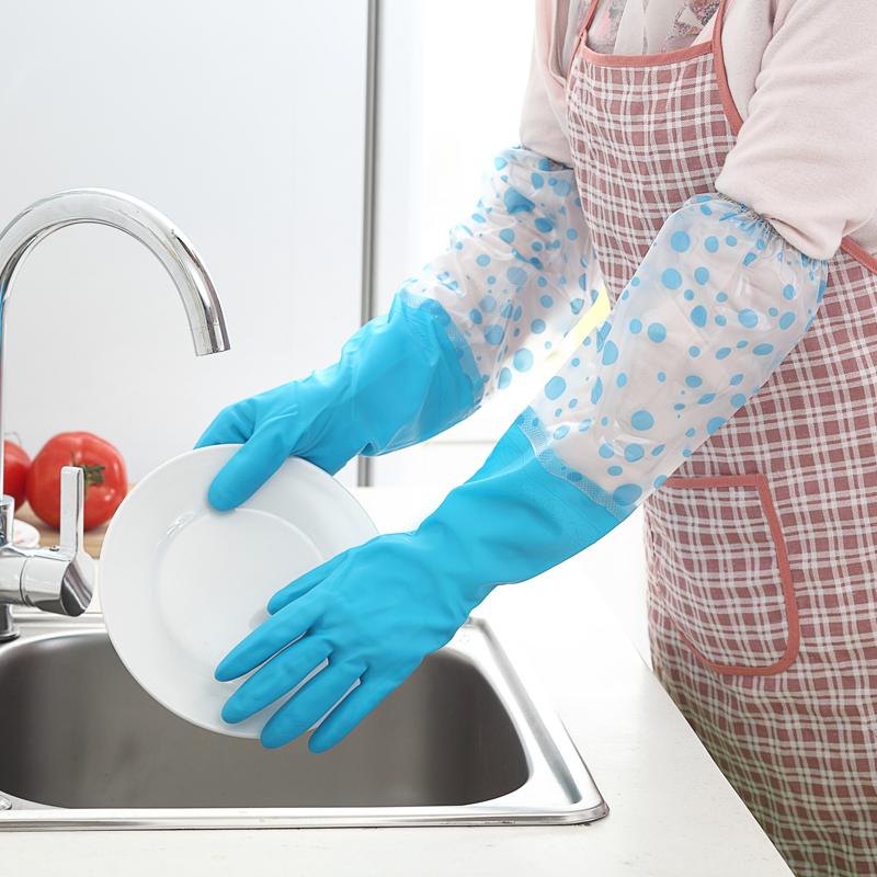 洗碗手套接袖加绒三双装橡胶洗衣服胶皮塑胶厨房刷碗防水耐用