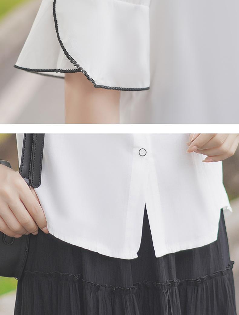 [可開發票]一雪紡上衣 帛卡琪夏季雪紡衫白襯衣女學生木耳邊上衣娃娃領短袖襯衫 【格調】