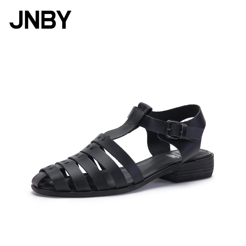 JNBY-江南布衣新款夏包頭鏤空涼鞋女平底尖頭復古羅馬鞋7H45A002