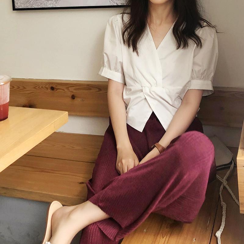 螃蟹巷衬衫设计感交叉打结V领小众短款女泡泡百搭上衣袖纯色2019