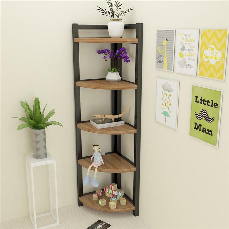 Simple Corner Shelf Living Room Steel Wood