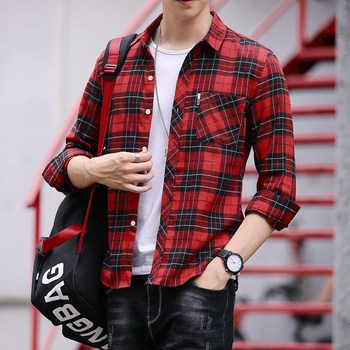 Autumn new long-sleeved plaid shirt men's college style slim inch shirt youth British Korean coat shirt tide