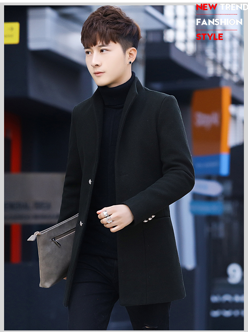 Winter 2020 new trend fashion men's hair coat in the long handsome male youth cotton coat 54 Online shopping Bangladesh