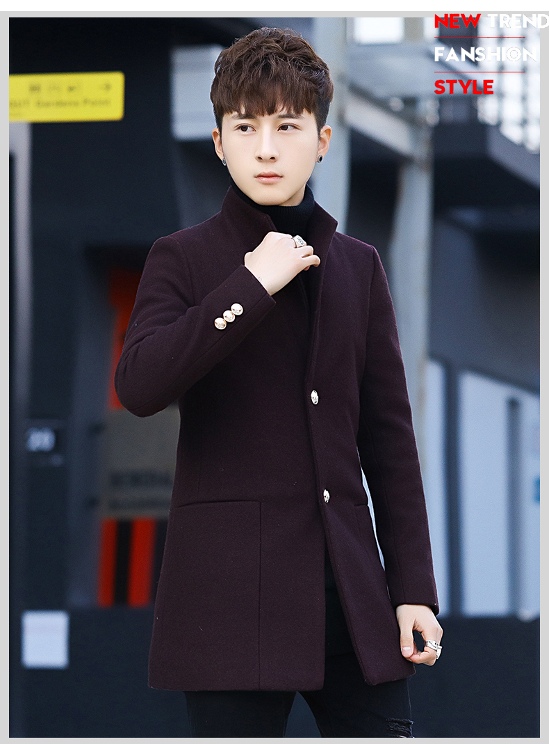 Winter 2020 new trend fashion men's hair coat in the long handsome male youth cotton coat 58 Online shopping Bangladesh