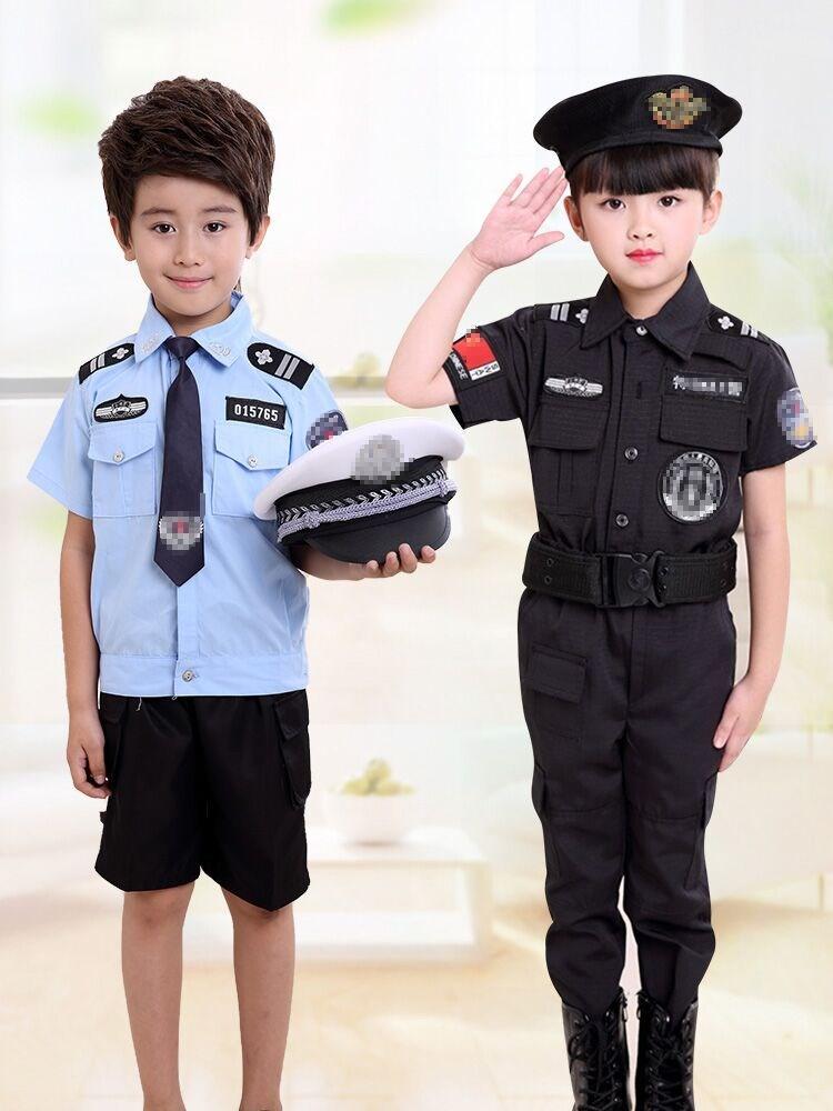 六一男孩警警服套装演出服角色扮演警察交警小服装服春季儿童特服