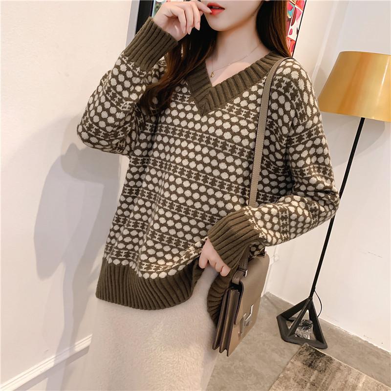 Mùa thu đông 2019 mới của phụ nữ thời trang áo len lười cổ điển kiểu dáng áo len cổ chữ V - Áo len cổ chữ V