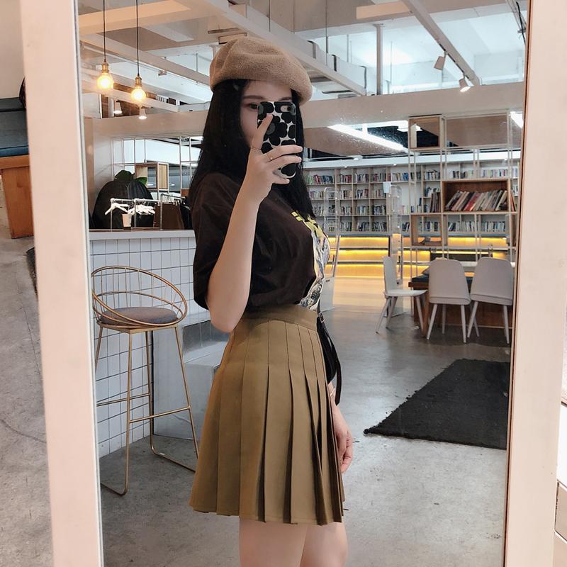 2020新款纯色西装垂坠百褶裙半身裙jk显瘦a字高腰女秋冬学生短裙