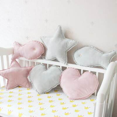 INS children's baby ice cream powder skin-friendly Nordic small pillow small pillow love star fish cushion pillow with core