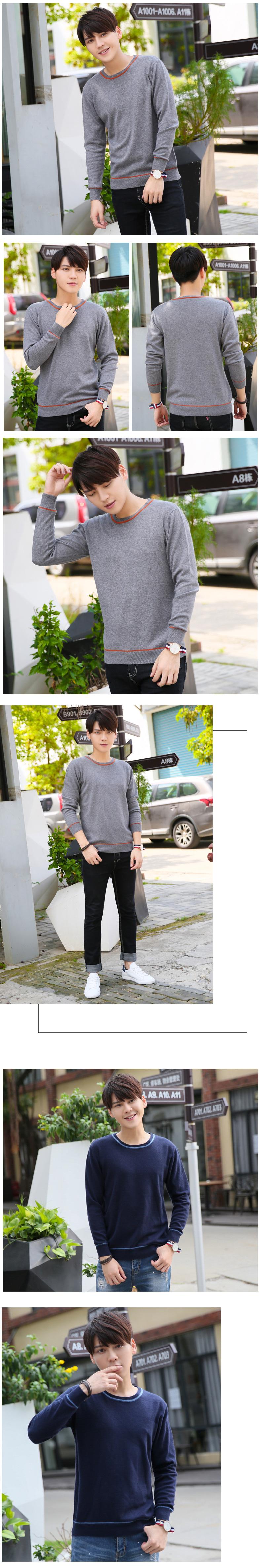 Mùa thu và mùa đông áo len mới nam cổ tròn cơ sở áo len áo thun thanh niên cashmere áo len Hàn Quốc kích thước lớn áo len - Kéo qua