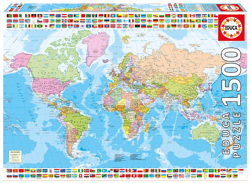 【现货】educa 世界行政地图 1500片 西班牙进口拼图