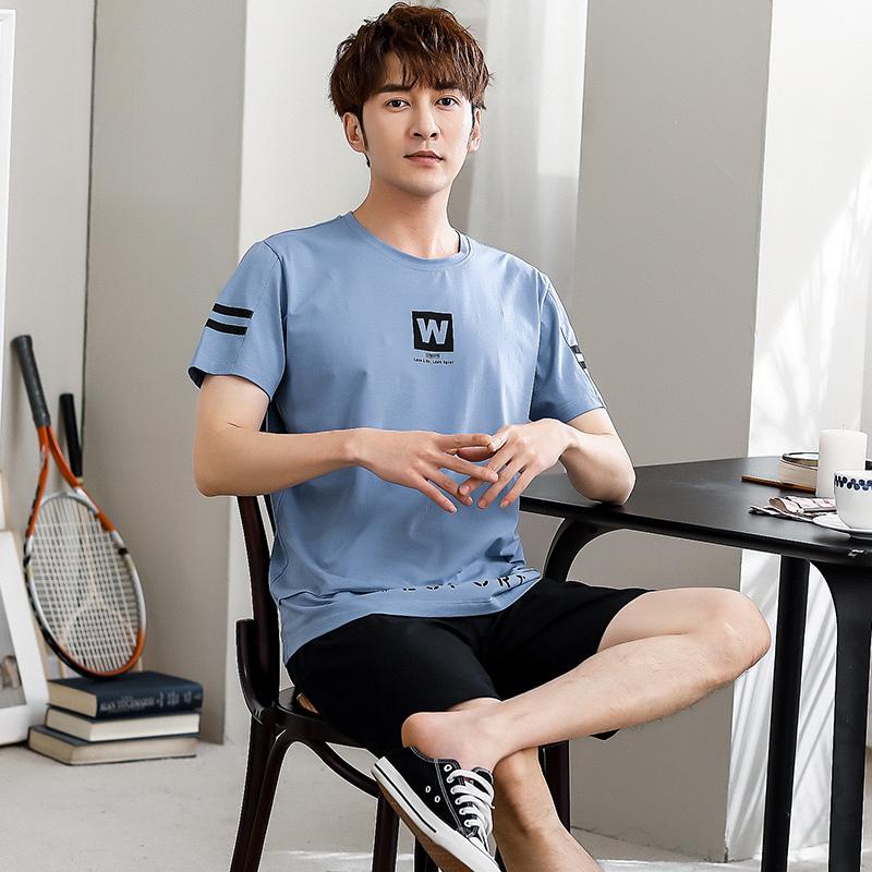 Dịch vụ mặc nhà mùa hè ngắn tay phong cách Hàn Quốc đồ ngủ hai mảnh tươi mát quần đùi nam ngắn tay cotton tinh khiết thể thao - Cha mẹ và con