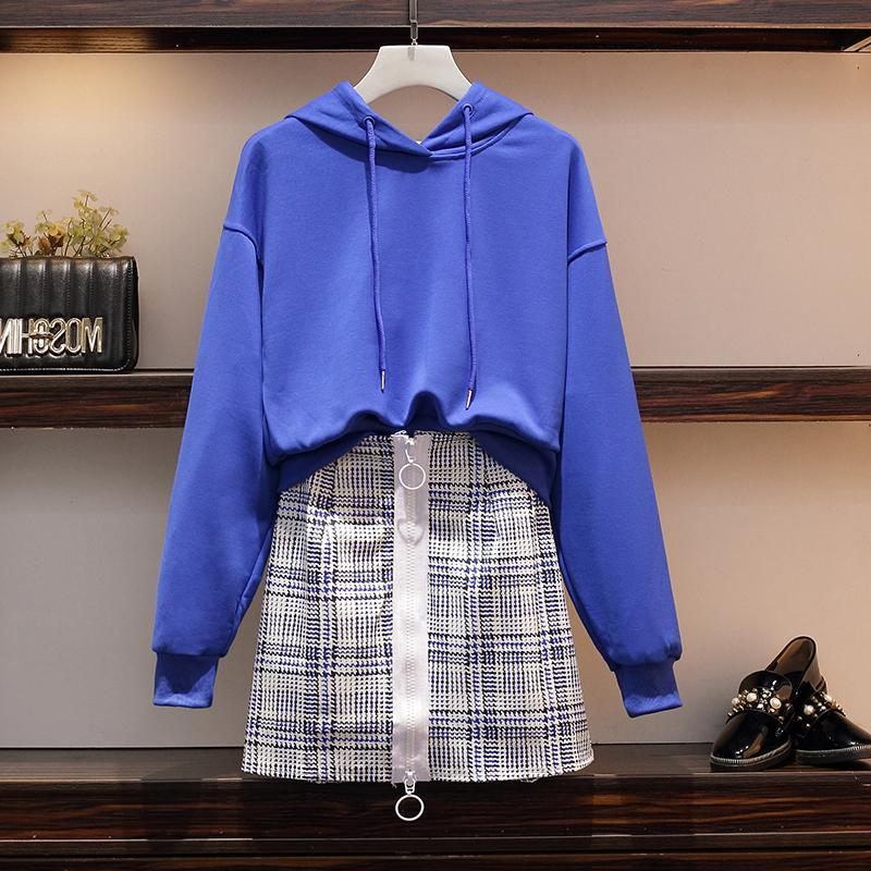 洋气秋装新款2019大码上衣显瘦拉链件套卫衣高腰半身女装两短裙装
