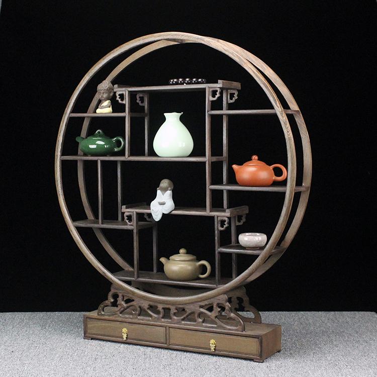 鸡翅木实木客厅博古架 中式多宝阁架  茶具古董花瓶置物架收纳架
