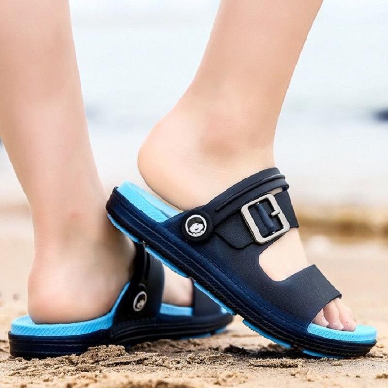 儿童拖鞋夏男童凉拖鞋室内外软底防滑沙滩鞋洞洞鞋夏季大童凉拖鞋