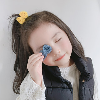 Children's cute wool hairpin female candy color sweet hand-woven clip side clip child bow hairpin