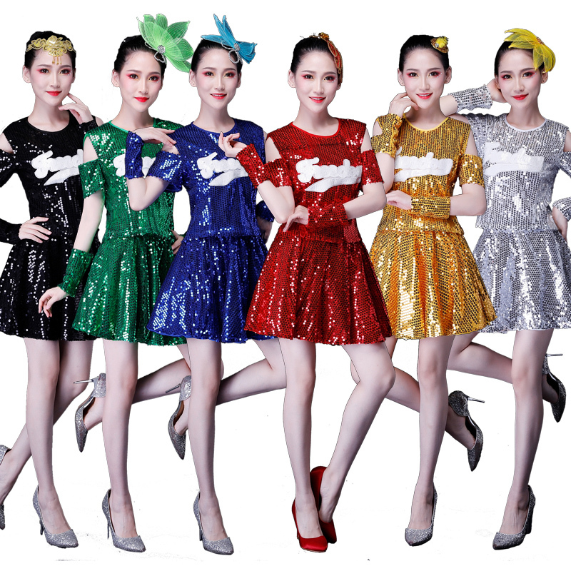 Square Dance Costume Adult Female Suit Sequined Skirt Dancing Modern Dance Costume Jazz Dance Costume