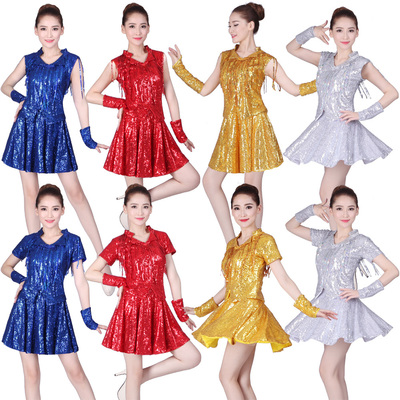 Square Dance Costume Suit dance sequins show Jazz modern dancer adult dance costume