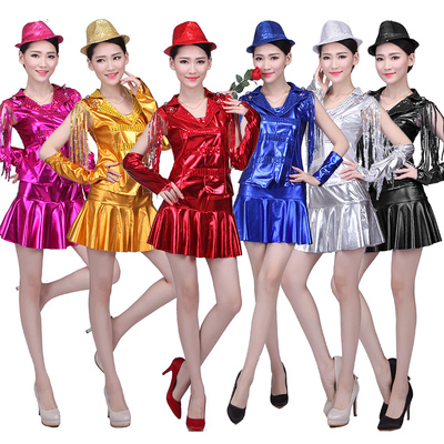 Square dance costume suit skirt modern jazz dance DS costume female adult dance costume
