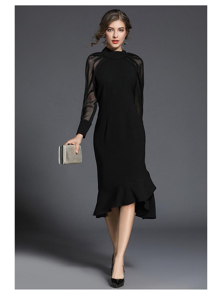 545792477 Femmes De Luxe Parti Robe Noire 2018 Automne Runway Mesh Patchwork Manches  Longues Robes Sirène