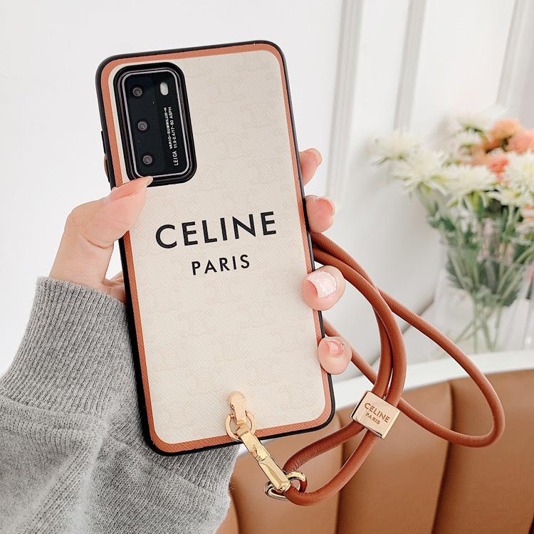 带挂脖绳Celine适用华为P40pro手机壳Mate40软壳P30p皮质Mt30挂绳